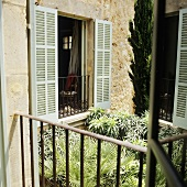 A view over a leafy courtyard onto a window with light green shutters and black railings