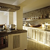 A designer kitchen with rustic elements in a Mediterranean house