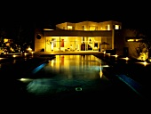 Pool at night - romantic lighting in a Mediterranean villa