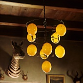 Pendent lamps with illuminated, round glass shades hanging from a wooden ceiling and a stuffed zebra head hanging on the wall
