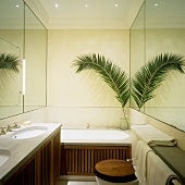 Small bathroom with a huge effect - mirrored walls and wood veneer facing