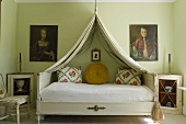 A canopy over a bed in a rural bedroom