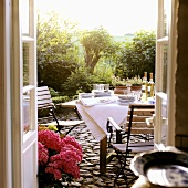 A table that has been set on a terrace