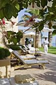 A lounger on a Mediterranean terrace