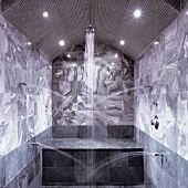 A marble bathroom oasis - water pouring out of side spouts with a shower head between spotlights
