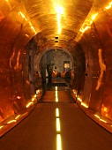 Brass-coloured metal cladding in a tunnel-like corridor with artificial lighting