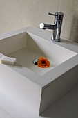 A designer wash basin with taps and an orange gerbera