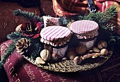 Christmas decorations in a wicker platter