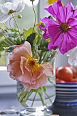 Japanese anemones and cosmos in glass vase
