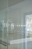 Glassware in cabinet