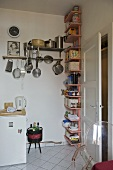Shelving in corner of modern kitchen