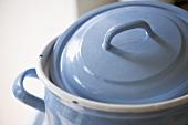 Close up of blue cooking pot