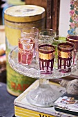 Moroccan style glasses on cake stand