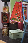 Collection of tin boxes and bread bin