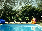 Outdoor swimming pool with lemon trees in blue pots on paved terrace.