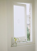 A detail of a small open casement window with opaque glass, hellebore flowers in vase, thermometer