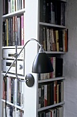 A retro-style wall lamp on a bookshelf