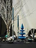 Christmas table decorations in blue and silver