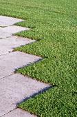 Pflaster und Rasen im Garten