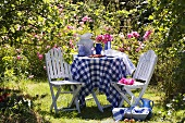Blau weiß karierte Tischdecke auf Tisch und Gartenstühle vor blühendem Rosenbusch