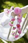 A daisy chain hanging from the back of a chair in a garden