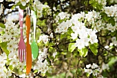 Decorative cutlery hanging from strings in a flowering apple tree