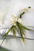 Place setting decoration for a wedding - Spanish bluebells and meadow grass flowers