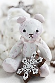 A teddy bear with a snowflake biscuit