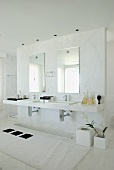 A washstand with two wash basins and two mirrors on a partition wall in an elegant bathroom