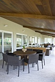 An elegant covered terrace as a dining room