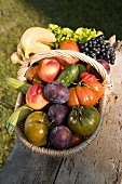 A basket of fresh fruit and vegetables