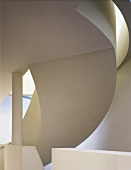 Section of a modern curved staircase (bottom view)
