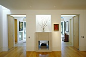 A minimalistic anteroom with a fireplace that also serves the living room and open doorways