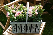 Flowers in a basket with the word 'Garden' written on it on a garden chair