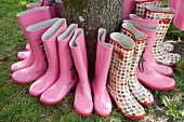 Pink Wellington boots around a tree