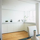 View of an L-shaped white kitchen