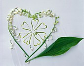 Lily-of-the-valley heart with leaf on white paper