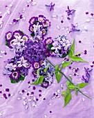 Flower formed from hyacinths, cineraria, grape hyacinths, jasmine