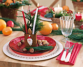 Laid table with Advent decorations