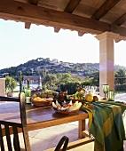 Antipasti on laid table on a terrace