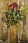 Mistletoe hanging on a door