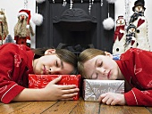Children sleeping on their presents