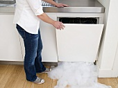 A woman opening a leaking dishwasher