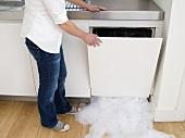 Frau öffnet einen undichten Geschirrspüler