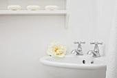 Blick auf kleines weisses Eckwaschbecken mit zwei Wasserhähnen & Wandregal mit Seifenstücken