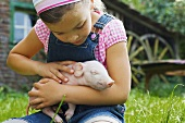 A girl holding a piglet