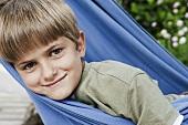 A boy in a hammock