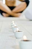 Woman relaxing in yoga posture