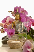 Orchids with Buddha figure