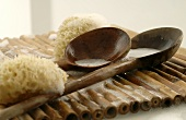 Sponge and wooden spoons (sauna accessories)